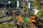 BNSF northbound crosses over at Tower 55
