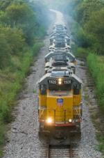 UP unit rock train climbs the hill