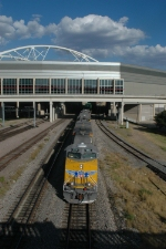 UP 5326 West passes under the Dallas Convention Center
