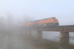 Rolling through the thick river valley fog, N800 makes its run at Saugatuck Hill