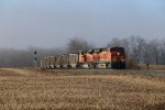 As they pass the signals at the west end of Saugatuck, BNSF 6273 & 9358 reach the  top of the hill with N800-01