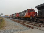 CN 2979/7504/5451/7512 E/B stack car train just entering the west end of Thorton Yard