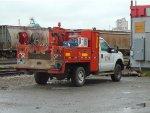 CN maintenance vehicle parked outside of the CN Lynn Creek Yard office