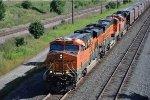 Grain train races west