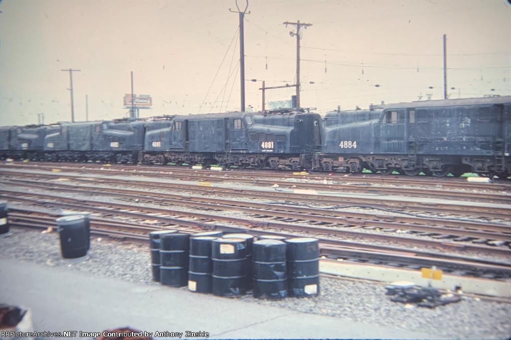 NJT GG1s stored at Harrison, NJ