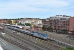 Amtrak Train # 465 departing Springfield Station, as viewed from the parking garage