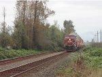 Trailing DPU CP 8719, E/B unit stack train just west of Mission, B.C.