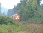 CP 8148/8034 leading power of an E/B autorack train, west of Mission, B.C.