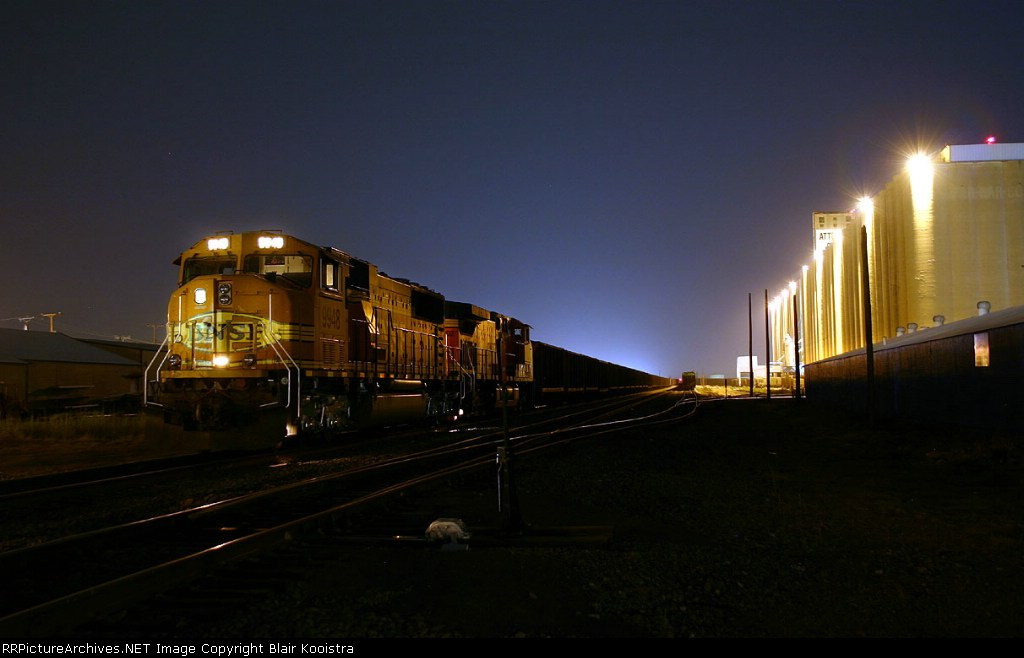 A BNSF coal load stages on the main line at Saginaw, Texas