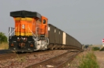 BNSF ES44AC 5980 brings up the DP position on a coal train bound for Sulphur, LA, holding the main for a meet at
