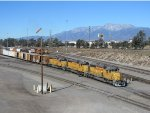 Union Pacific SD40Ns switching cars in departure yard