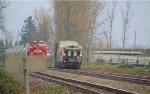 CN #998, E/B Track Evaluation train meeting W/B CP covered hopper grain train