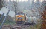 W/B unit covered grain hopper train with trailing DPU, UP 2718