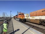 Front View of BNSF ET44C4 #3691 as it Shoves West at Commerce