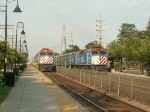 2 Metra Trains meet