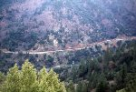 Five WP F units power an eastbound freight in the Feather River Canyon