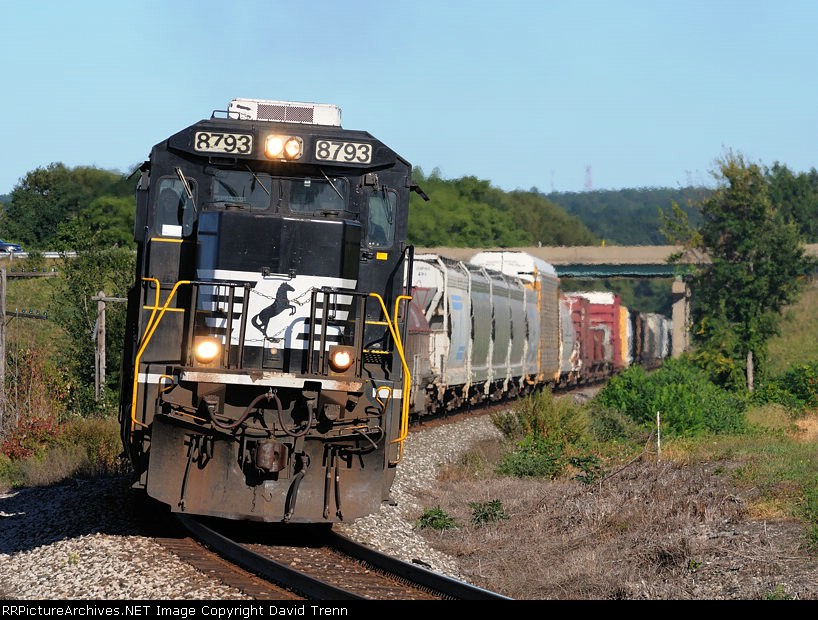 NS #8793 leads Westbound NS 309 at Bort Rd