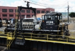 NS 2399 goes for a ride on the turntable at NSs Juniata Shops