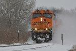 BNSF 6158 Snow blowing.