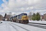 CSX 776 leads an eastbound manifest through snowy Hinsdale, MA