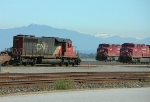 Three locos and snow capped mountains