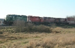 One green, one orange, and two red locos