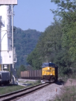CSX 503 with an N559 coal train passing the south end of Brooklyn Jct. yard