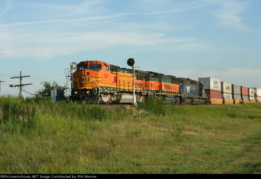 BNSF 529  329  and MRL 259 Head pass the signals south of