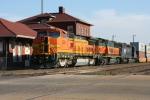 BNSF 529's crew grabs a bite to eat from the restaurant in the Old Guthrie Depot