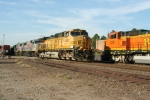 BNSF 4434 and two TFM engines make the meet in front of the Guthrie Depot as 529 waits it's turn on the Main