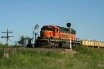 "BNSF 7126 pulls this Northbound ""Slot Machine"" ballast train through the signals"