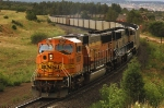 BNSF 8827 and sister MAC work as DPU remotes on a Southbound coal load