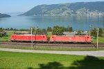Switzerland - Along Lake Zug: DB Cargo 185 119 and 091
