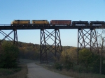 Yard Locomotives out on the Road Cross the Kate Shelley High Bridge