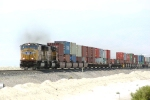 Stack train heads for the Bonneville salt flats