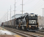 NS 3067 heads back to Burns Harbor, IN passes by Dowagiac depot
