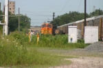 BNSF 4497 makes a back up move