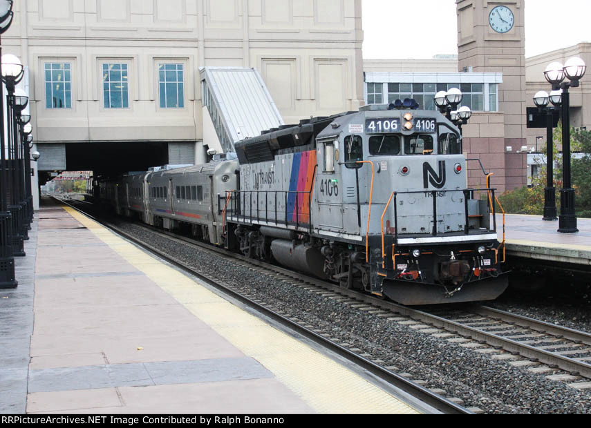 Eastbound train 1630 has a former CNJ Geep leading eastbound toward Hoboken