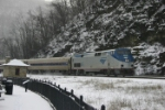 Amtrak #46-In the snow at Horseshoe Curve
