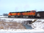 BNSF C44-9W 4131 4158 at Rt. 4 North of Girard IL 1/18/05
