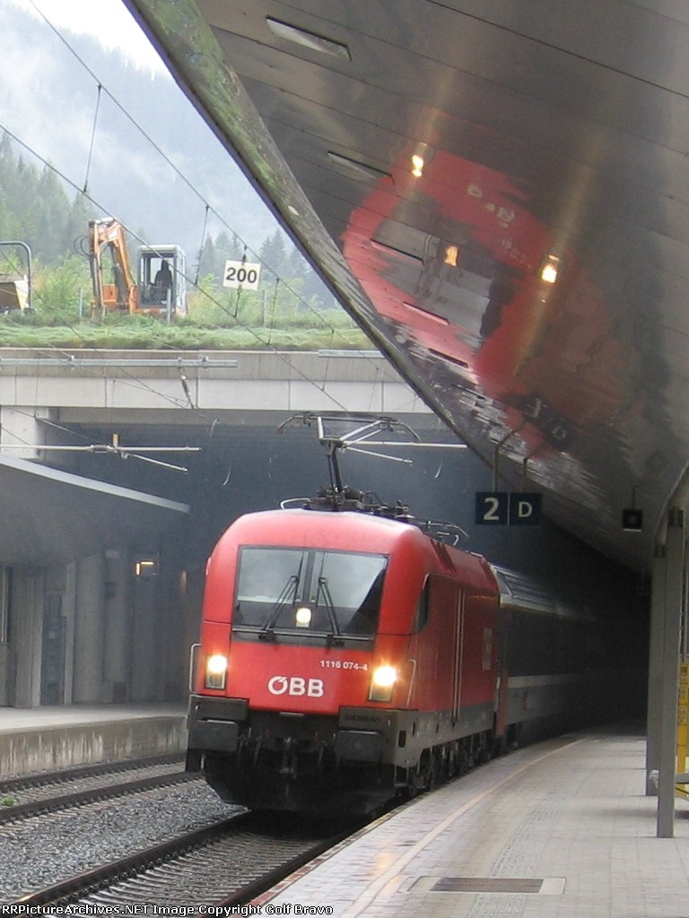 Coming out of the Arlbergtunnel into St. Anton Station