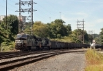 NS 7624 leads coal drag at Falls Yard
