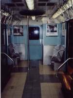 Interior of R33 WF 9306 in original 1964 colors at NY Transit Museum