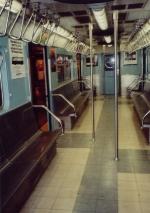 Interior of R33 WF 9306 at Transit Museum