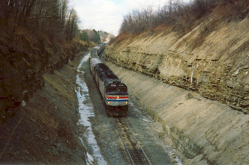 Amtrak approaches the west portal