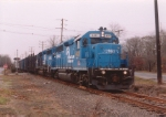 Conrail blue passing through
