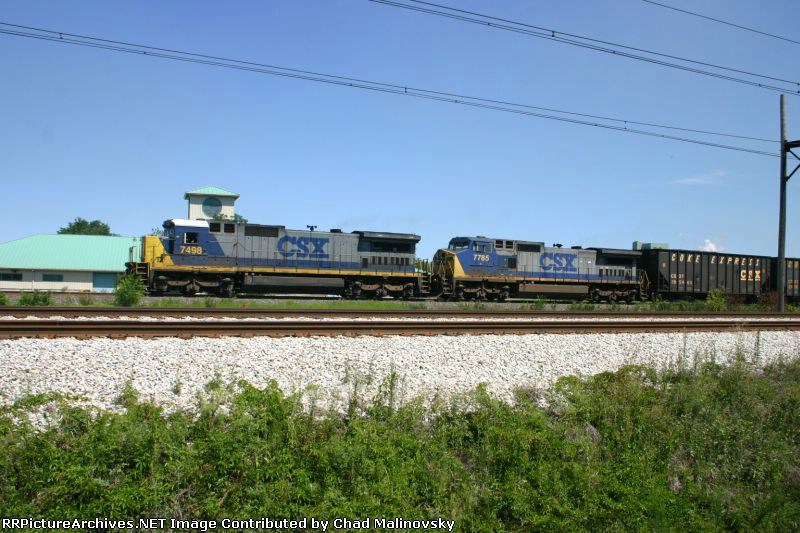 CSX 7498 & 7785 lead a Coke Express train