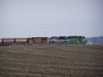 A BNSF Grain Train Sits on the Northeast Nebraska Awaiting Clearance to Proceed to South Sioux City
