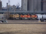 UP 6850 Leads a Couple of New BNSF Swoosh Motors & Grain Cars