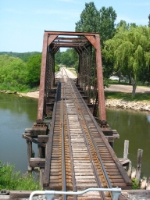 Rolling onto the through span over the main channel of the Manistee River